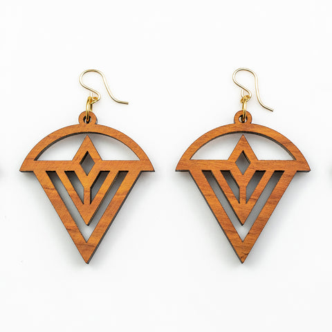 Kaia Earrings - Cherry Hardwood and Gold
