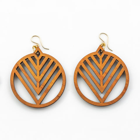Morgen Earrings - Cherry Hardwood and Gold