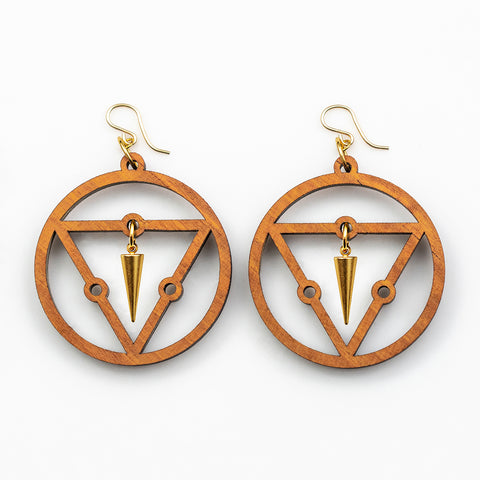 Jaqui Earrings - Cherry Hardwood and Gold Daggers