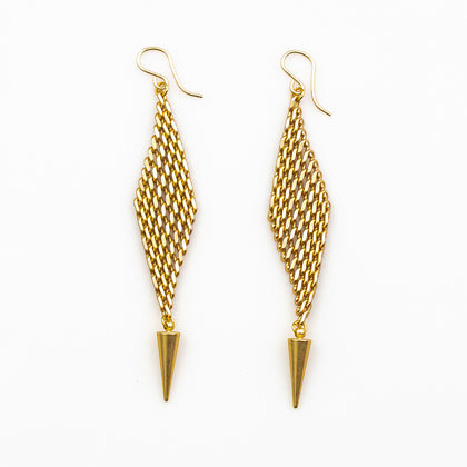 Jaya Earrings - Flexible Chainmail Diamonds with Gold Daggers