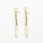 Shira Earrings - Chain Dangles with Gold Bars