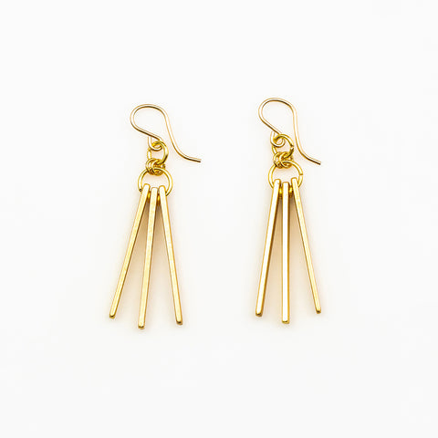 Nikila Earrings - Gold Triangle Triad