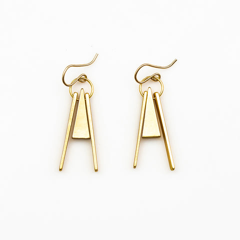 Sienna Earrings - Gold Triangle Triad