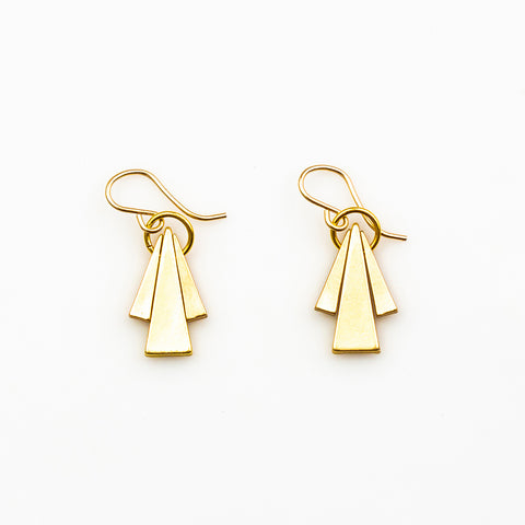 Dulini Earrings - Gold Triangle Triad