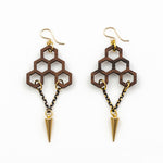 Govinda Earrings - Bolivian Rosewood Honeycombs with Gold Daggers