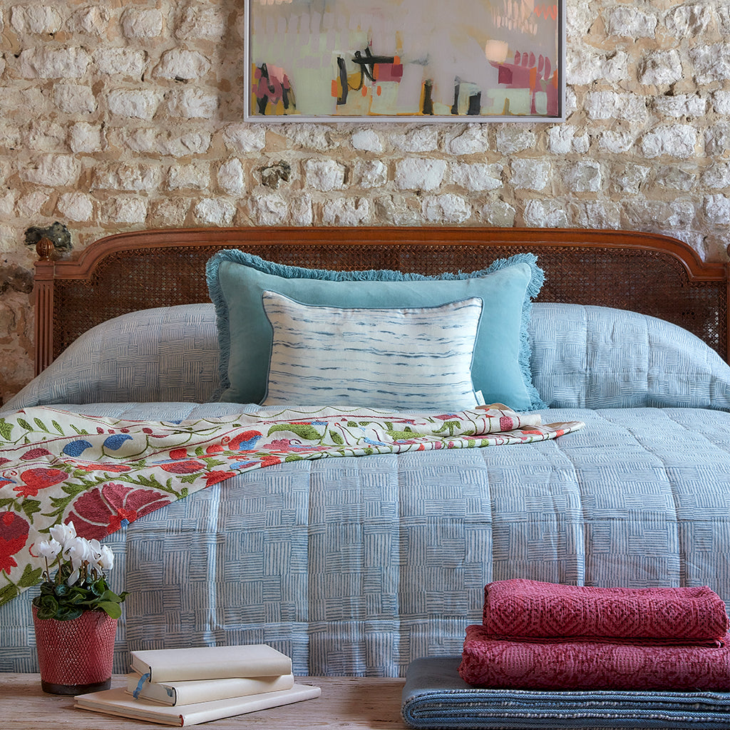 Birdie Fortescue | Cerulean Blue Crosshatch Block Print Bedspread