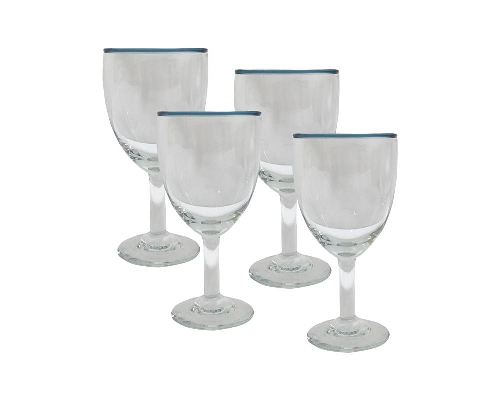 *Pre-Order* Set of 4 Rimmed Wine Glasses - Midnight