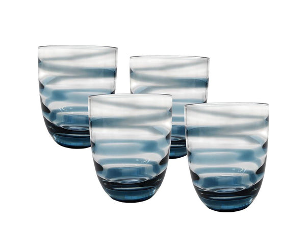 *Pre-Order* Set of 4 Strie Glass Tumblers - Midnight