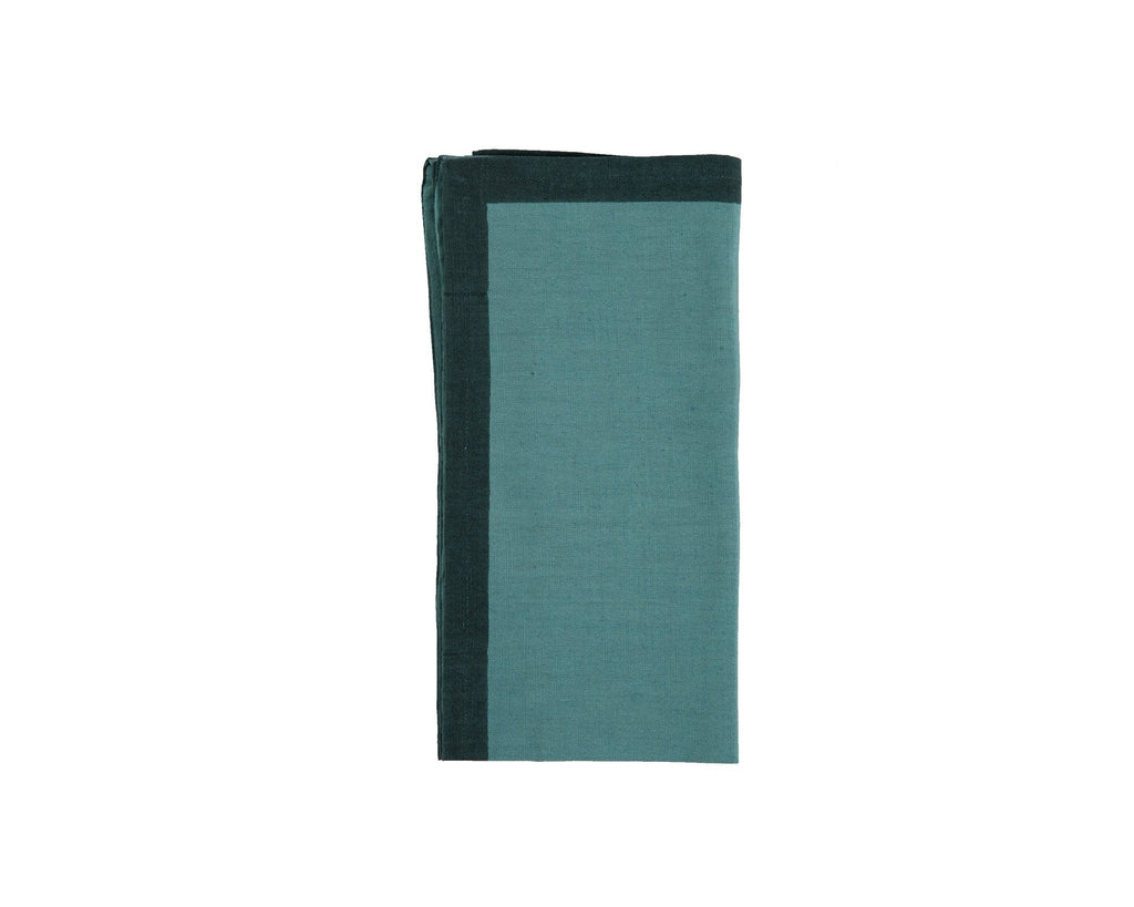 Jeevant Colour Border Dyed Napkin - Blue