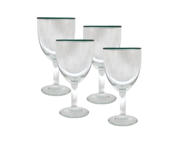 Set of 4 Rimmed Wine Glasses - Clover