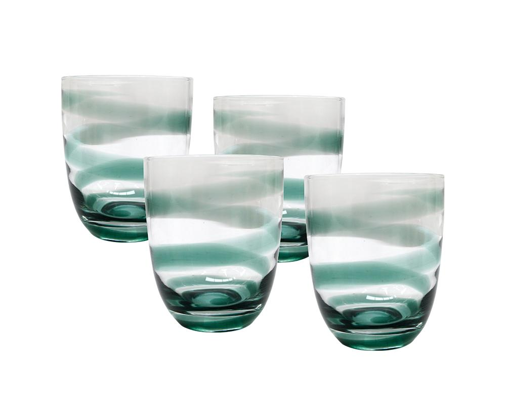 Set of 4 Strie Glass Tumblers - Clover