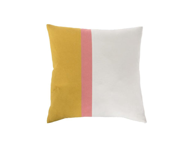 Aakaar Panel Cushion Yellow/Pink - Square