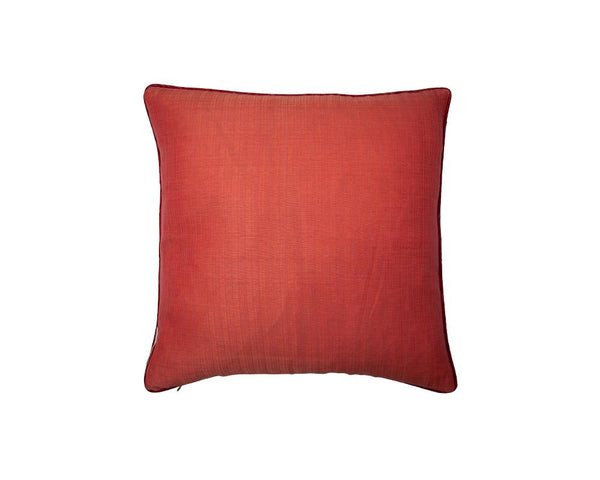 Limited Edition Khadi Cushion - Bright Coral with Red Piping
