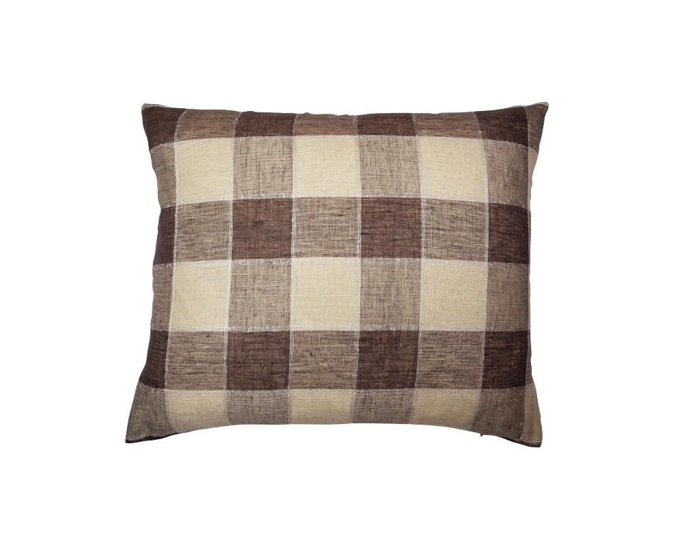 Limited Edition Khadi Cushion - Large Brown Check Rectangle