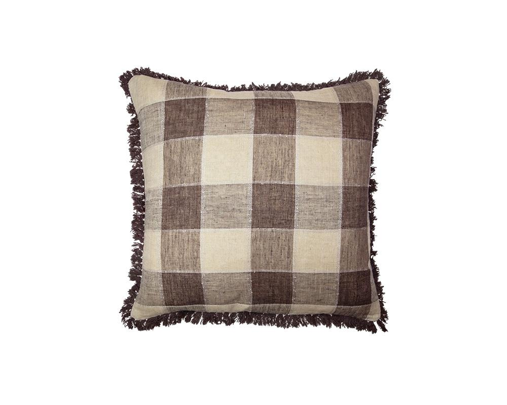 Limited Edition Khadi Cushion - Large Brown Check Square with Fringe