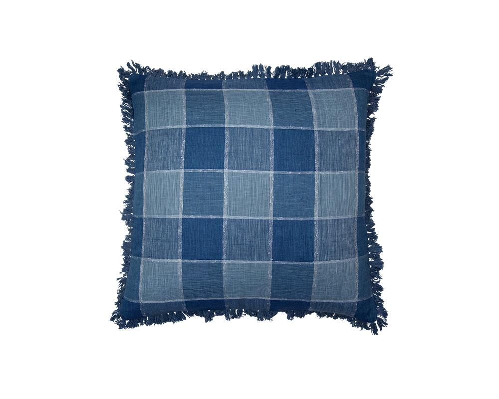 Limited Edition Khadi Cushion - Large Blue Check Square with Fringe
