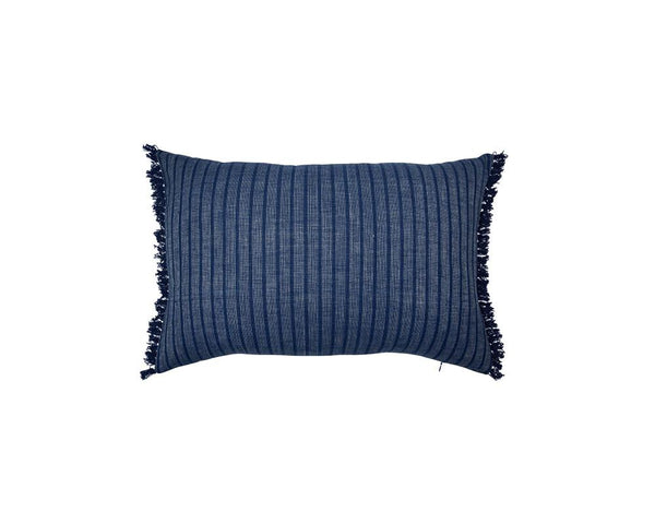 Limited Edition Khadi Cushion - Indigo Stripe Rectangle with Fringe