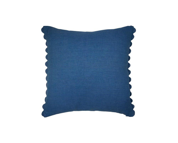Limited Edition Khadi Cushion - Blue Check Square with Ric Rac