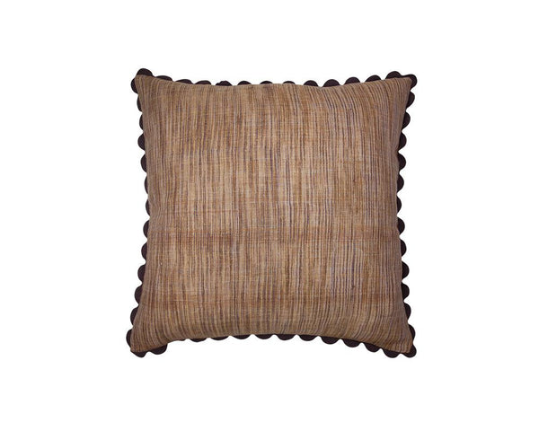 Limited Edition Khadi Cushion - Taupe Weave Square with Ric Rac
