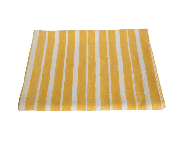 Aakaar Stripe Tablecloth - Yellow