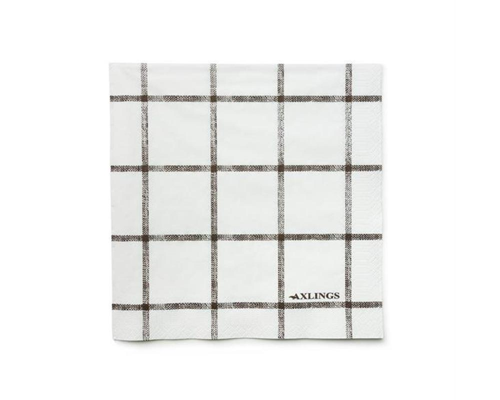 Linen Look Paper Napkins - Brown Check
