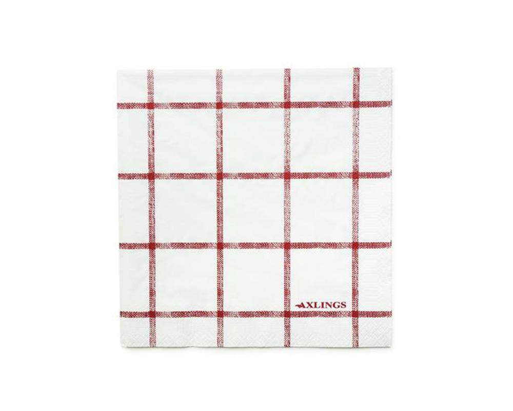 Linen Look Paper Napkins - Red Check