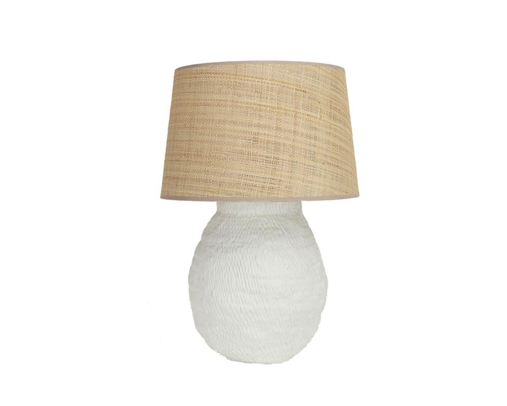 Medium Basket Weave Lamp - Off White