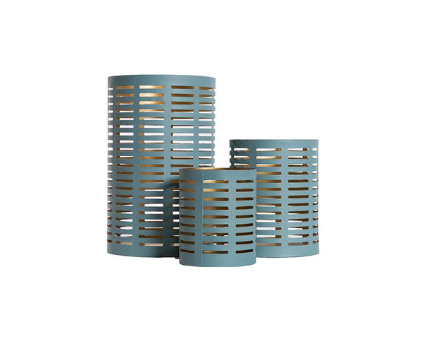Pierced Metal Votive - Blue