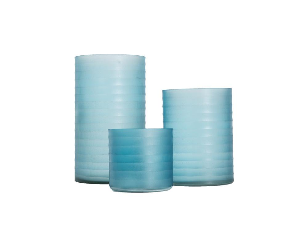 Ribbed Glass Hurricane - Blue