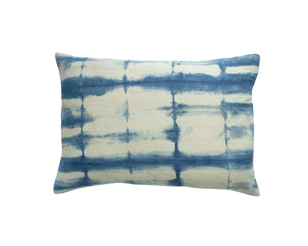 Limited Edition Rectangle Itajime Shibori Cushion - Midnight
