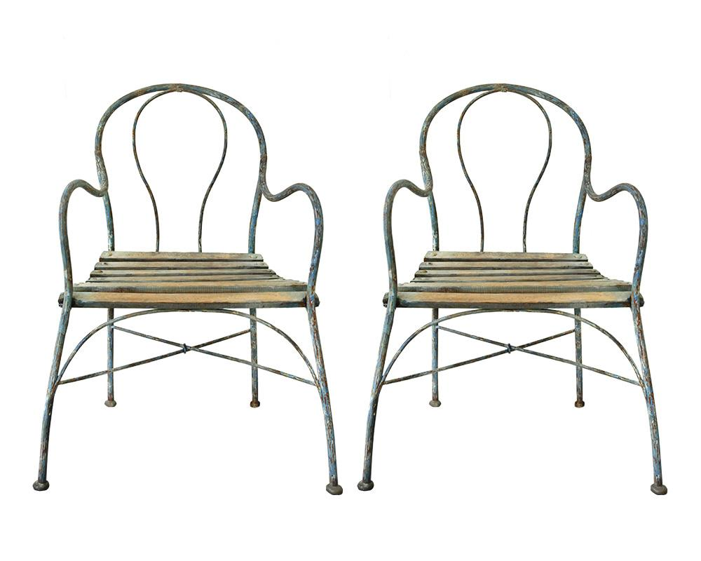 A Pair of French Painted Metalwork Garden Chairs