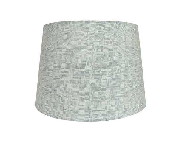 Crosshatch Block Printed Lampshade - Blue