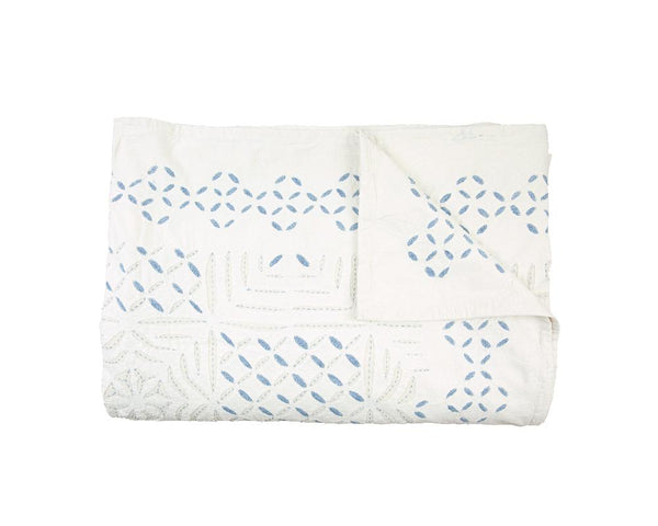 Cut-Work Appliqué Cotton Bedspread - Blue