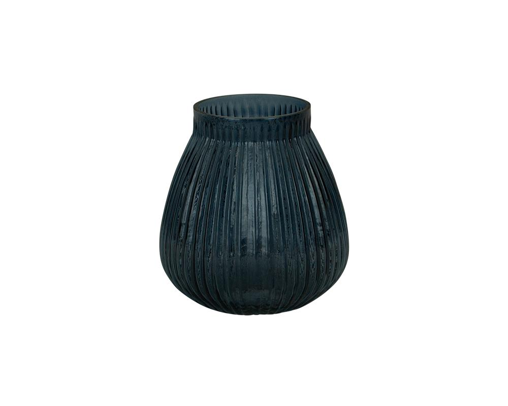 Ribbed Kaanch Vase - Dark Blue