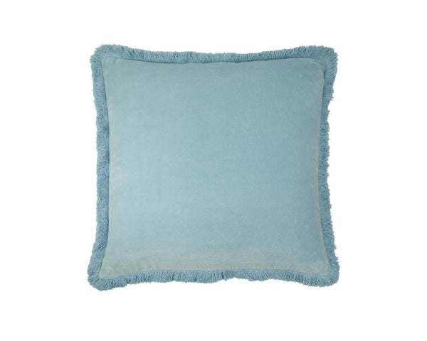 Mishran Staple Velvet Square Cushion - Sky