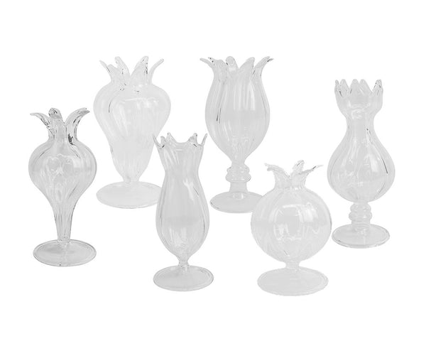 Decorative Glass Bud Vases - Set of 6