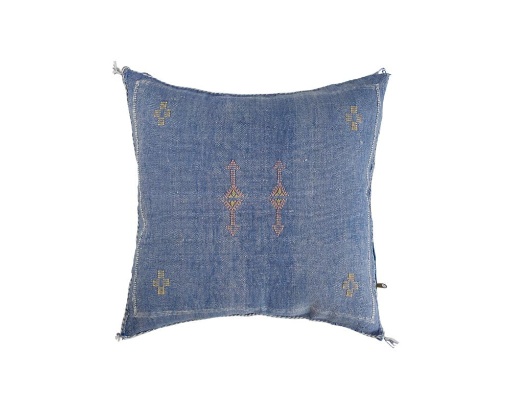 Blue Sabra Cactus Silk Cushion - Square VI