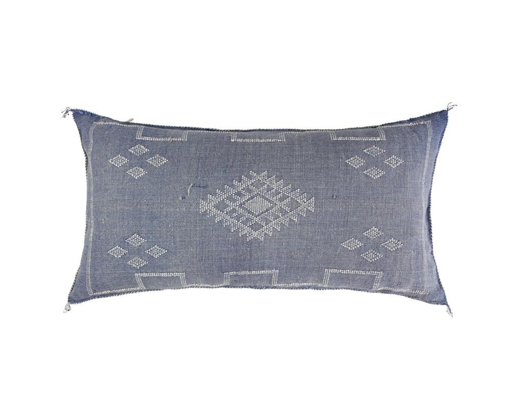 Blue Sabra Cactus Silk Cushion - Rectangle I
