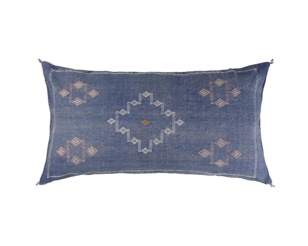 Blue Sabra Cactus Silk Cushion - Rectangle IV