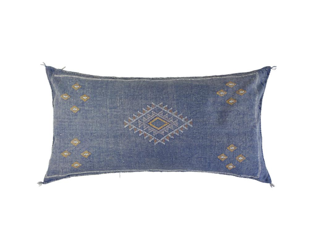 Blue Sabra Cactus Silk Cushion - Rectangle V