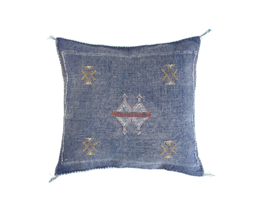 Blue Sabra Cactus Silk Cushion - Square IX