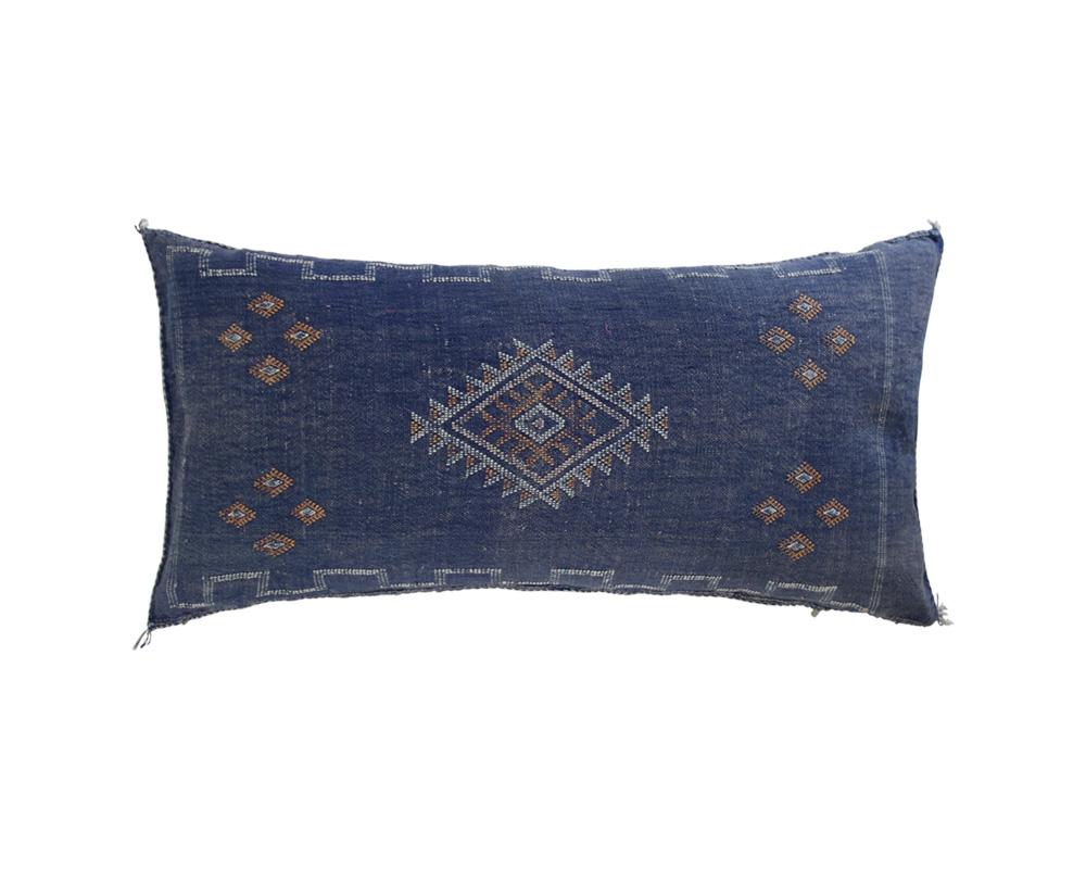 Blue Sabra Cactus Silk Cushion - Rectangle VI