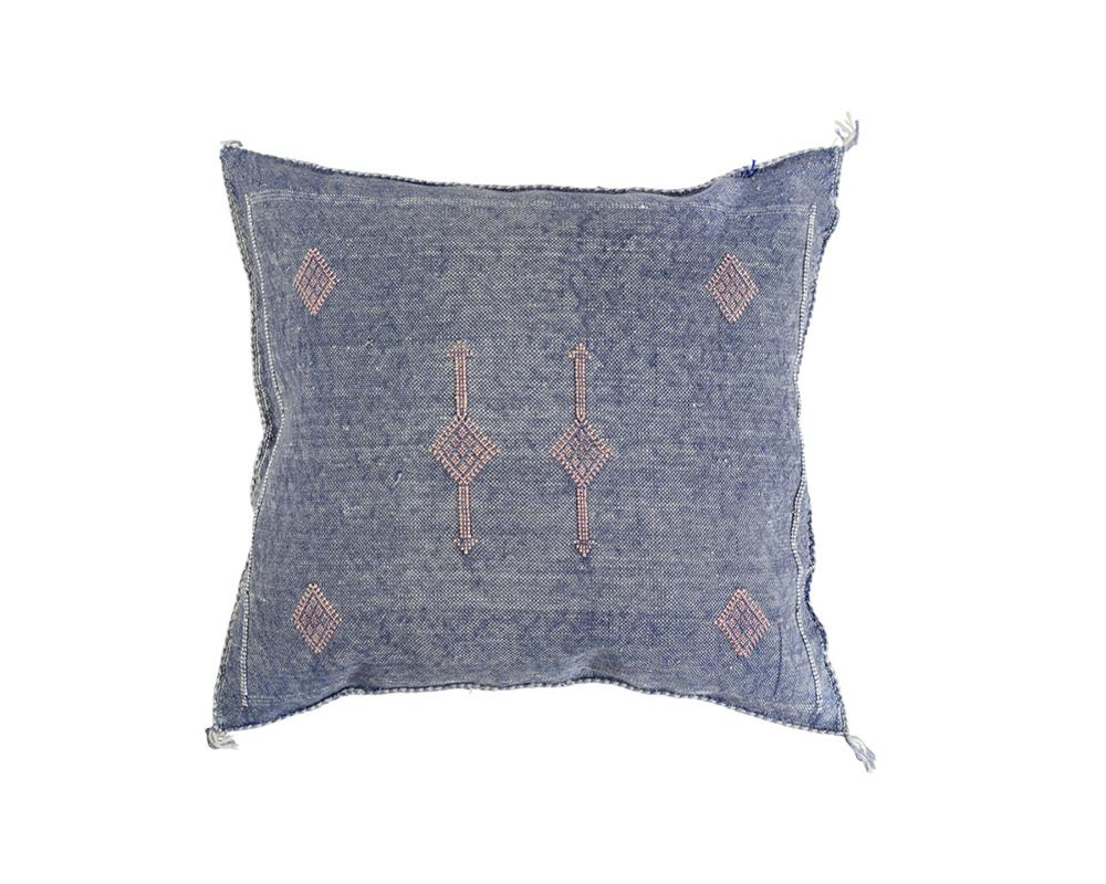 Blue Sabra Cactus Silk Cushion - Square II