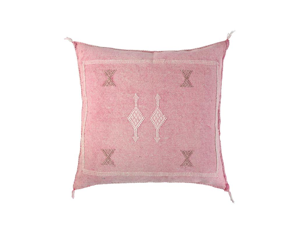 Pink Sabra Cactus Silk Cushion - Square III
