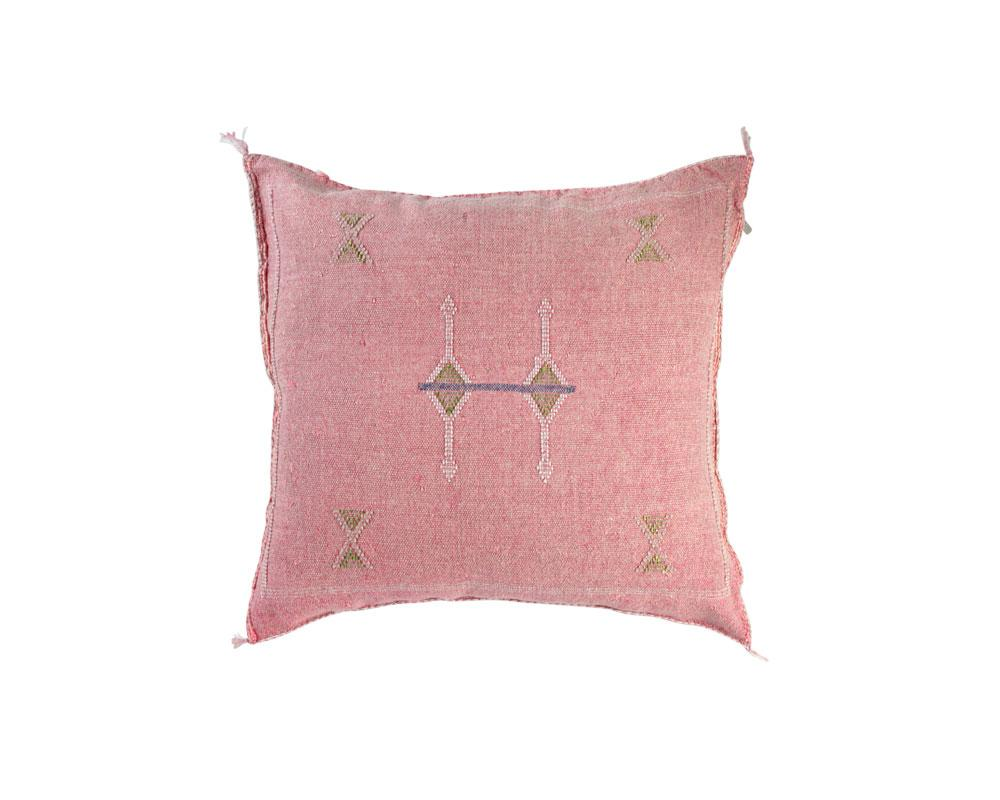Pink Sabra Cactus Silk Cushion - Square IV