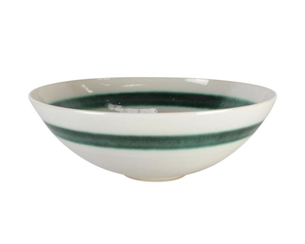 Limited Edition Cecilia Willis Stoneware Bowl with Green Band - Large