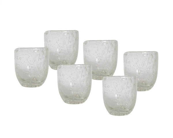 Set of 6 Pulegoso Glass Tumblers - Clear