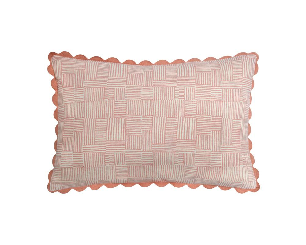 Crosshatch Cushion - Coral
