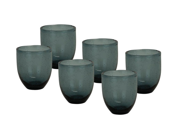 Set of 6 Pulegoso Glass Tumblers - Indigo