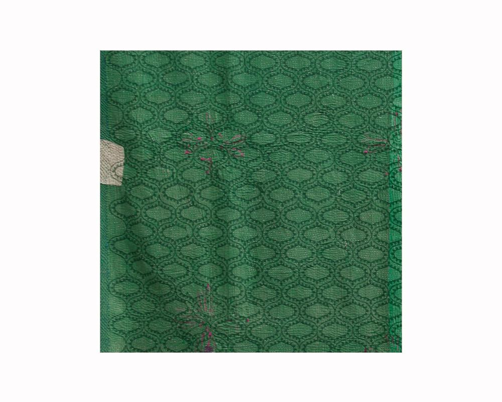 Limited Edition Vintage Kantha Throw - Green 1/16